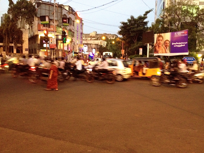 My first few hours in India were greeted by the evening traffic and the challenge of how to cross the road!