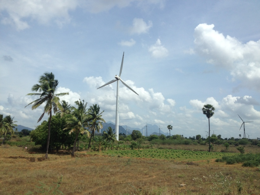 Wind farm driving towards Madurai